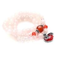 供应民族风饰品 七夕情人节礼物 红玛瑙粉水晶多元素长款多层手链