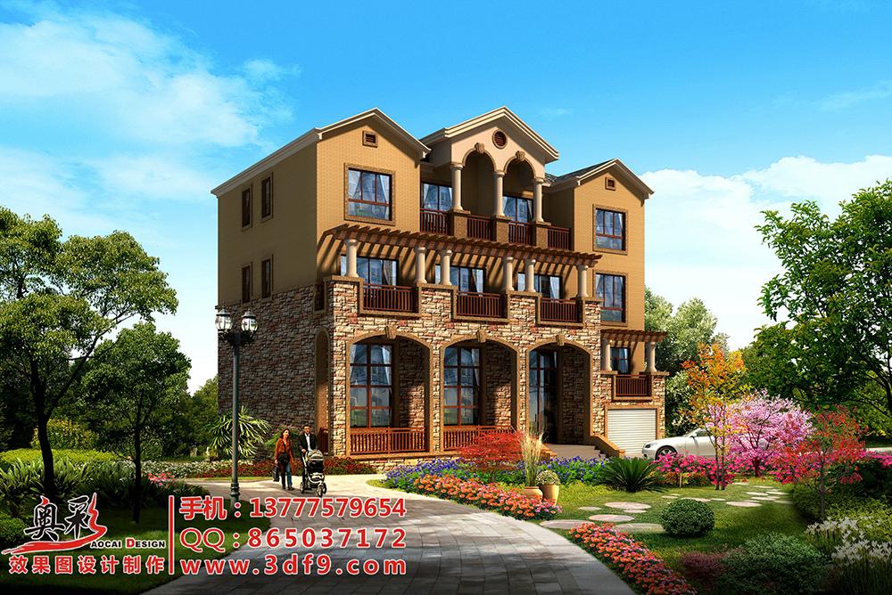 供应别墅外墙瓷砖装修效果图设计,乡村别墅效果图设计制作