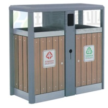 供应用于收纳垃圾的双侧投口坐地式冲孔分类垃圾桶HT-G