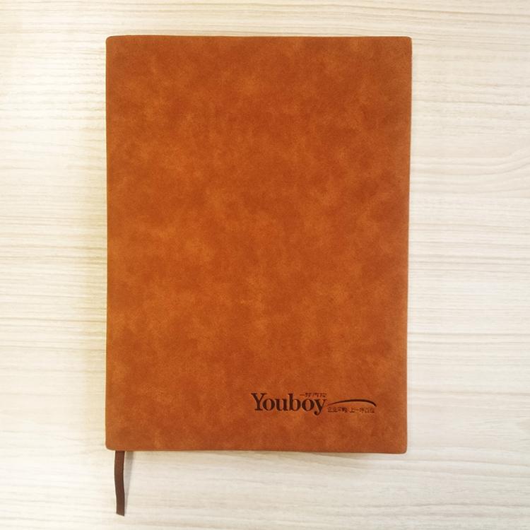 供应用于记录的一呼百应企业文化-真皮羊皮笔记本 棕黄色