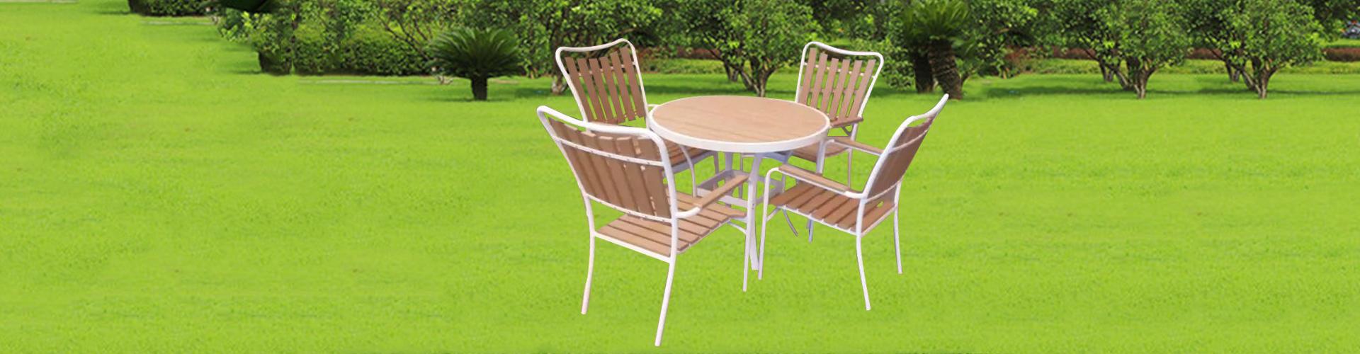 供应户外休闲家具时尚塑木餐桌椅组合 佛山家具工厂 阳台时尚桌椅