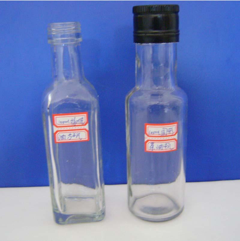 供应用于食用油外包装的100ml方形圆形橄榄油玻璃瓶