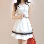条纹印花 时尚学院风假两件连衣裙图片