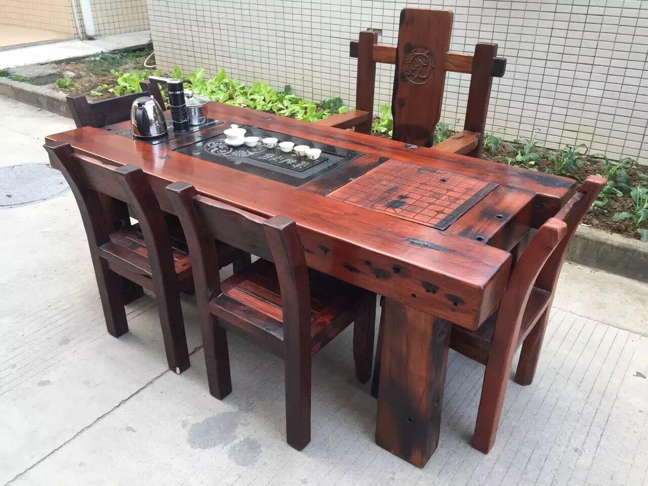 老船木茶台客厅茶几船木茶桌椅组合价格