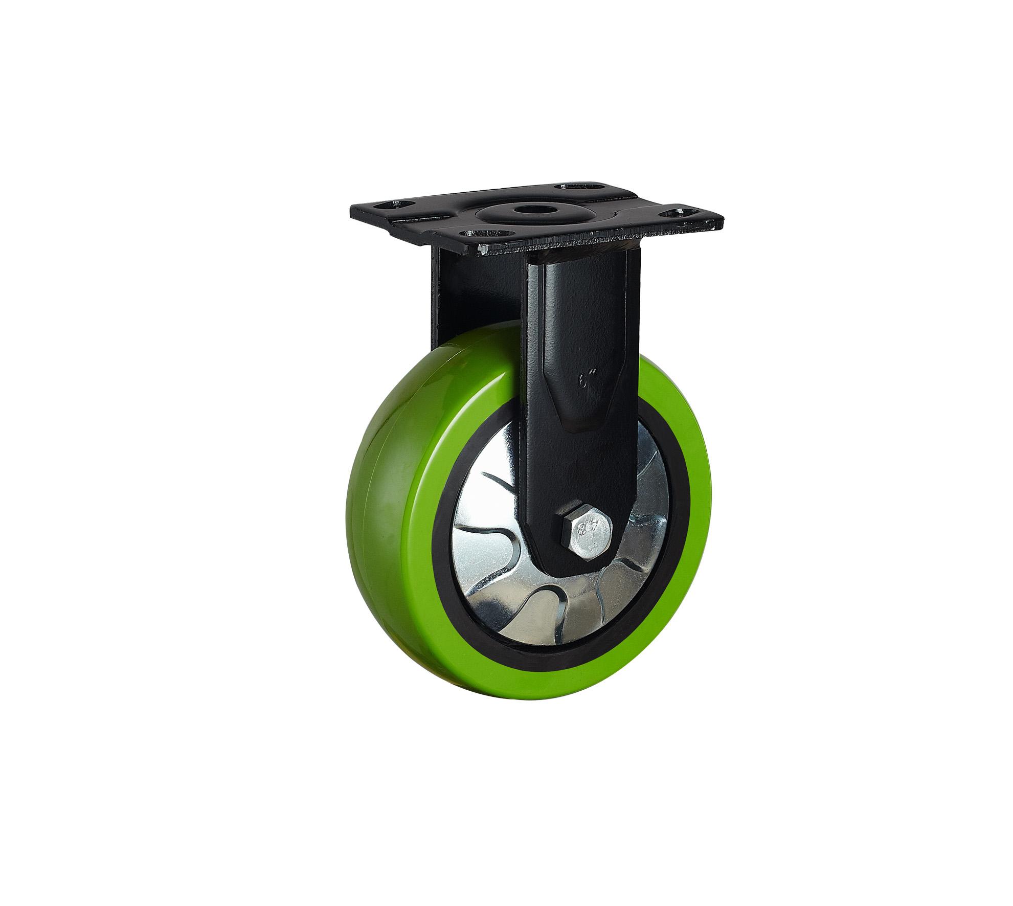 供应重型固定苹果绿PU轮/重型活动苹果绿PU轮/重型刹车苹果绿PU轮