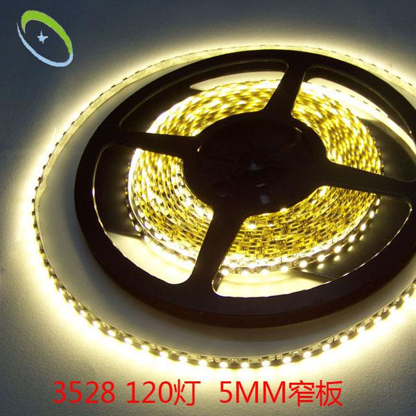 供应LED3528 120窄板软灯条 5MM窄板 柔性装饰广告箱软灯带 高亮