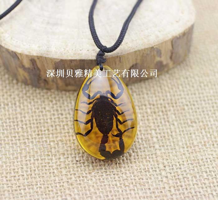真实蝎子昆虫标本琥珀项链吊坠