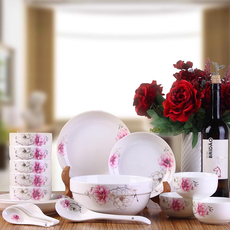 中华礼22头陶瓷餐具 商务礼品陶瓷餐具 促销赠品陶瓷套装餐具碗盘勺套装