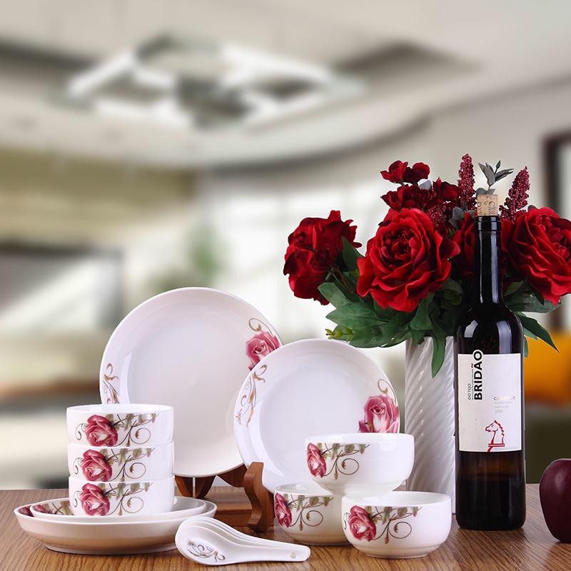 陶瓷餐具套装 中华礼盒韩式碗盘勺 婚庆乔迁促销赠品定制LOGO礼品瓷