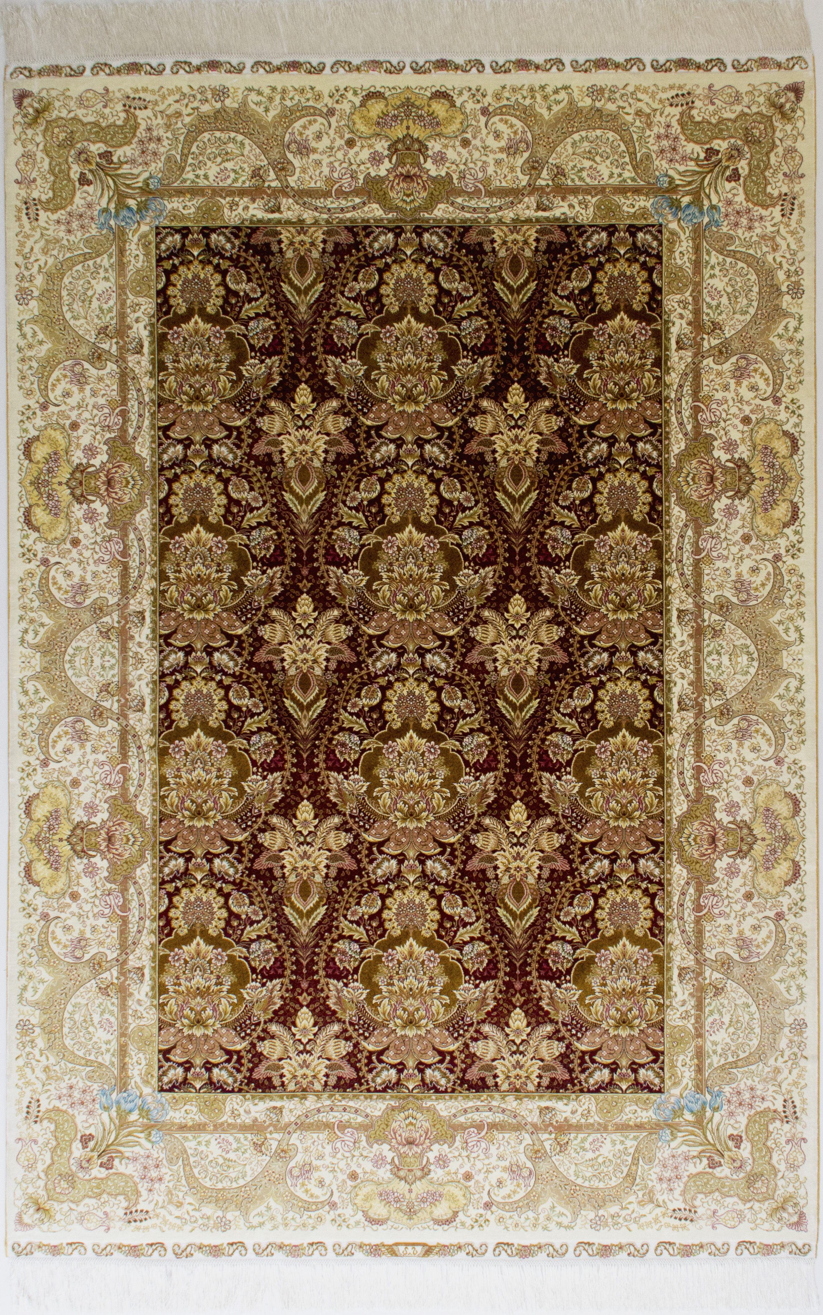 欧式简约花朵手工真丝波丝地毯批发