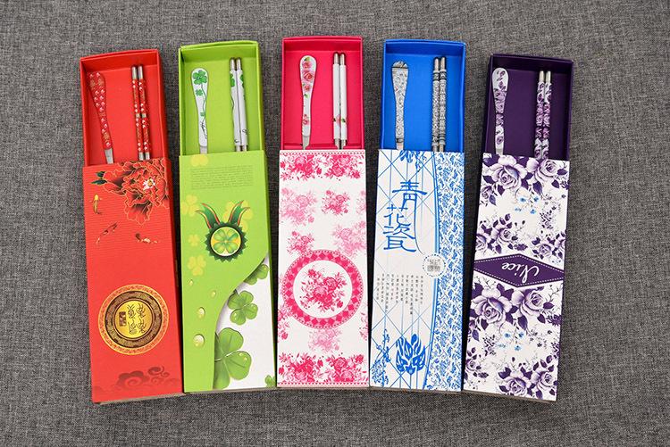 不锈钢勺筷二件套装 勺子筷子纸盒高档礼品  实木筷子