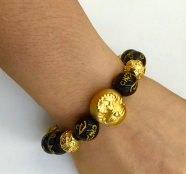 厂家直销 越南沙金厚金饰品弥勒佛六字真言实心珠男士手串一件代发