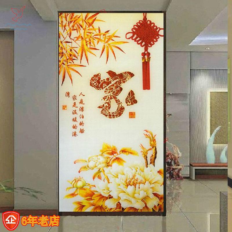 中式艺术玻璃雕花隔断客厅屏风 家