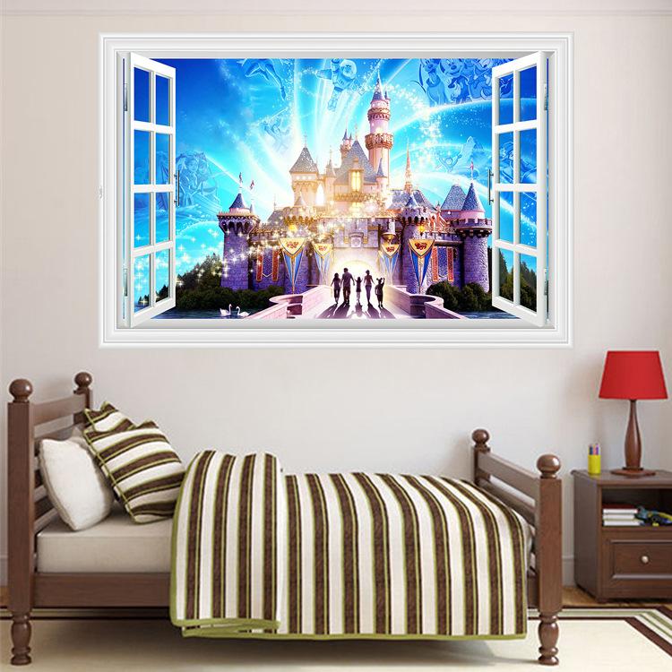 3d魔法梦幻城堡假窗户墙贴幼儿园卧室壁纸墙贴