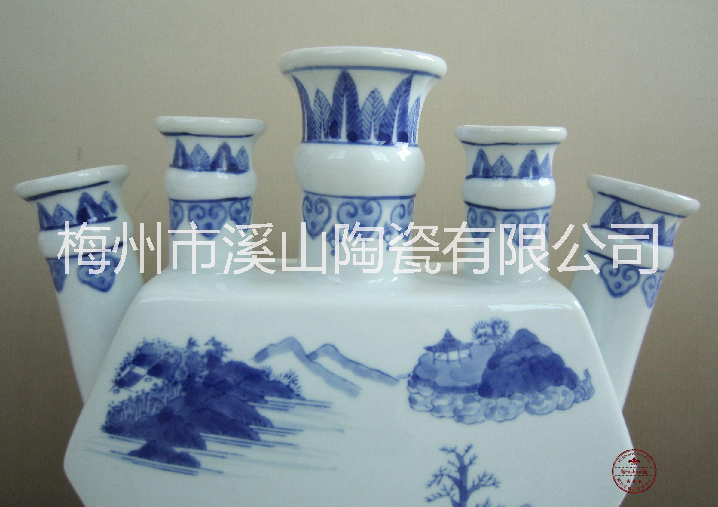 溪山陶瓷 五指花瓶 创意陶瓷工艺摆件 家居装饰工艺品批发