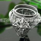 仿珐琅戒指托 常规尺寸活口复古银戒托批发