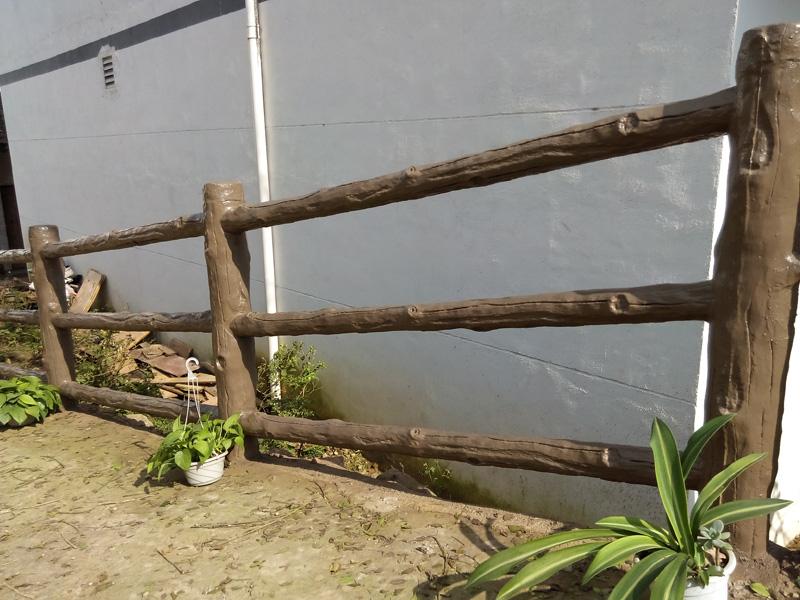 水泥仿生态木栏杆/护栏 3D型 混凝土水泥仿生态木护栏