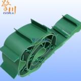 供应绿色钻石纹输送皮带PVC花纹传送带PVC跑步机皮带 高尔夫纹PVC输送带加斜角挡板带