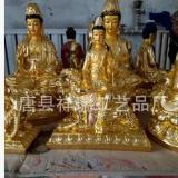 厂家批发财神西方三圣文殊普贤菩萨玻璃钢贴金彩绘工艺品佛像