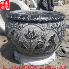 石雕青石做旧圆缸养鱼养荷花摆件石 曲阳仿古做旧水缸花盆供应批发