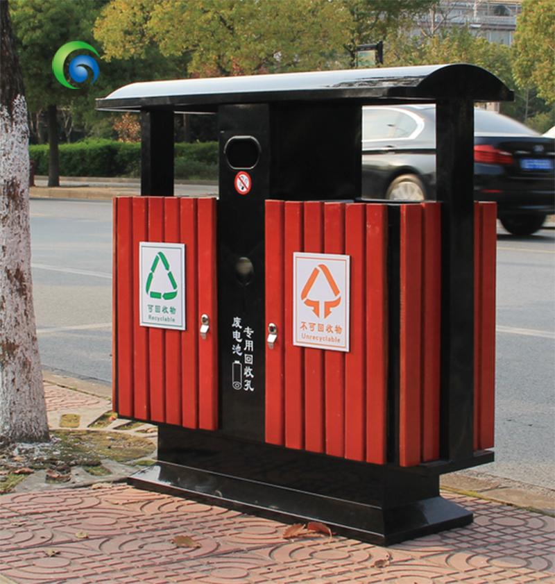 钢木垃圾桶环保果皮箱木条垃圾桶