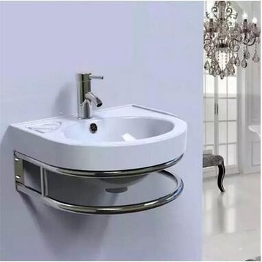 厂家直销16寸挂盆 简约时尚小型陶瓷洗面盆 挂墙式台盆组合