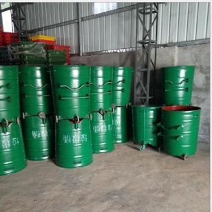 大号环卫铁垃圾桶 圆形挂车桶东莞|环卫挂车垃圾桶铁质户外垃圾桶批发