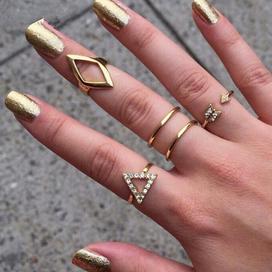 戒指韩版 镶钻箭头菱形三角形关节5五件套装