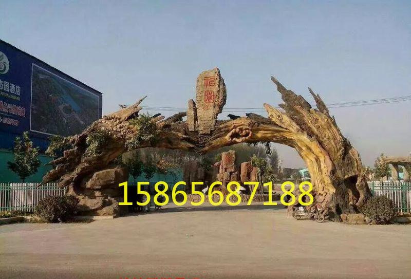 江西假树大门 江西假树大门承包 江西生态园仿木假树大门厂家