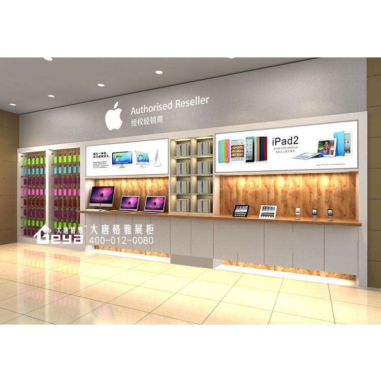 南京背景墙数码展柜制作-苹果电脑手机柜台展示柜设计定制厂家图片