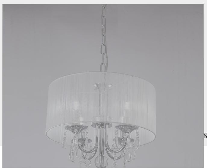 现代水晶吊灯客厅餐厅卧室个性创意LED圆形拉丝布艺家居灯饰