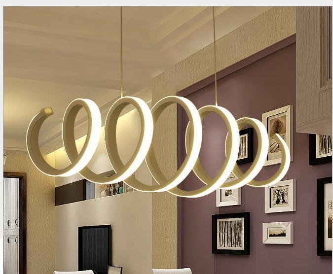 创意个性LED亚克力吊灯餐厅现代咖啡厅吧台时尚艺术螺纹铁艺灯具