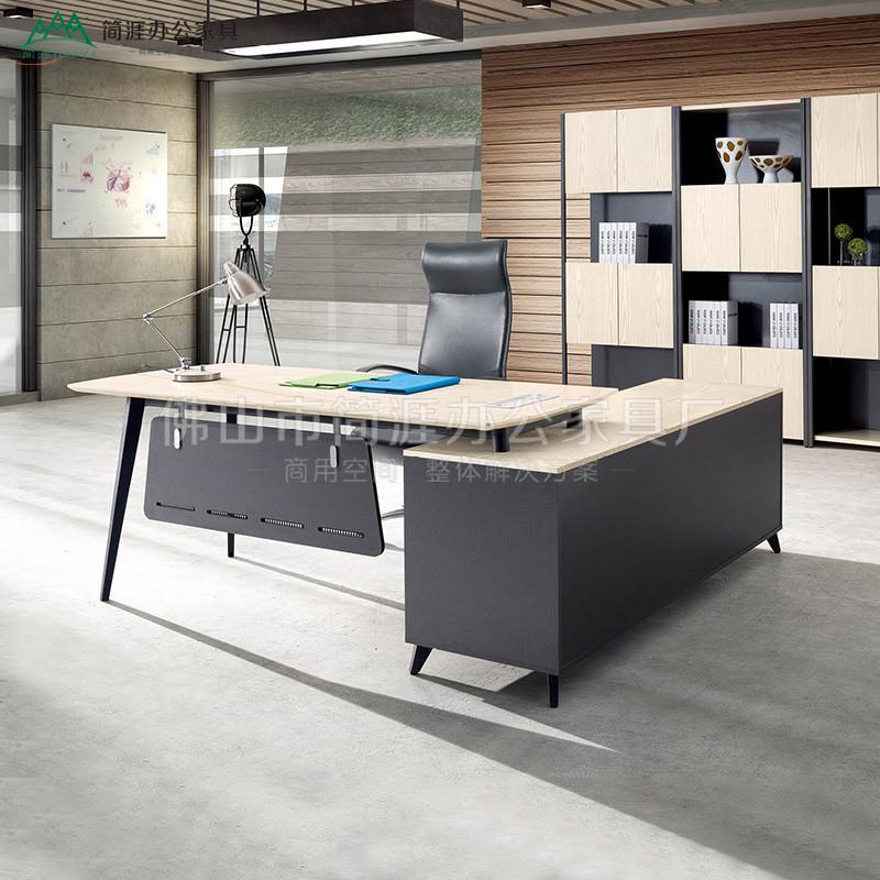 白橡纹理时尚老板桌环保板式组合办公家具现代简约主管大班台批发