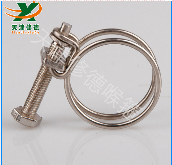 不锈钢双钢丝喉箍镀锌双铁丝用于中频电炉卡箍调节范围28-32MM