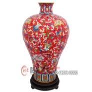 景泰蓝15英寸胭脂红梅瓶图片