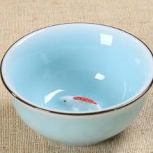 创意陶瓷浮雕单鲤鱼小反口茶杯水杯 青瓷功夫茶具茶杯批发