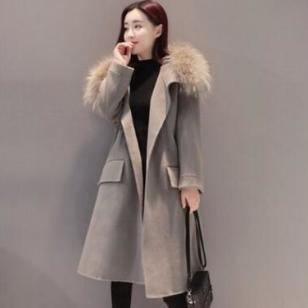 潮流纯色宽松中长款女装毛呢大衣图片