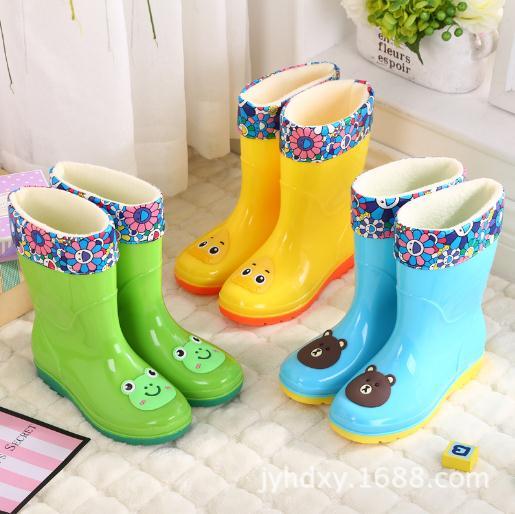 新款高筒中大儿童雨鞋雨靴卡通学生男女时尚水鞋四季保暖防滑