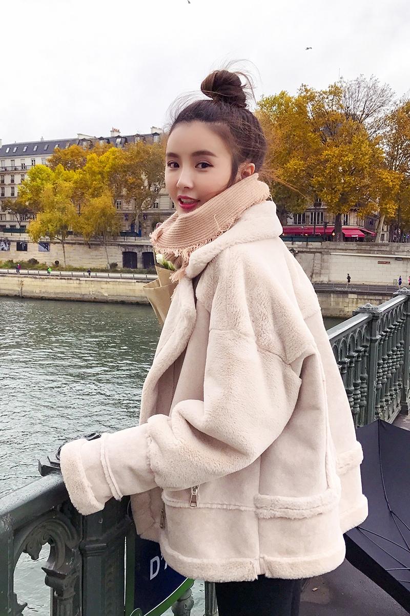 羊羔毛外套加绒加厚机车服麂皮绒拼接短外套