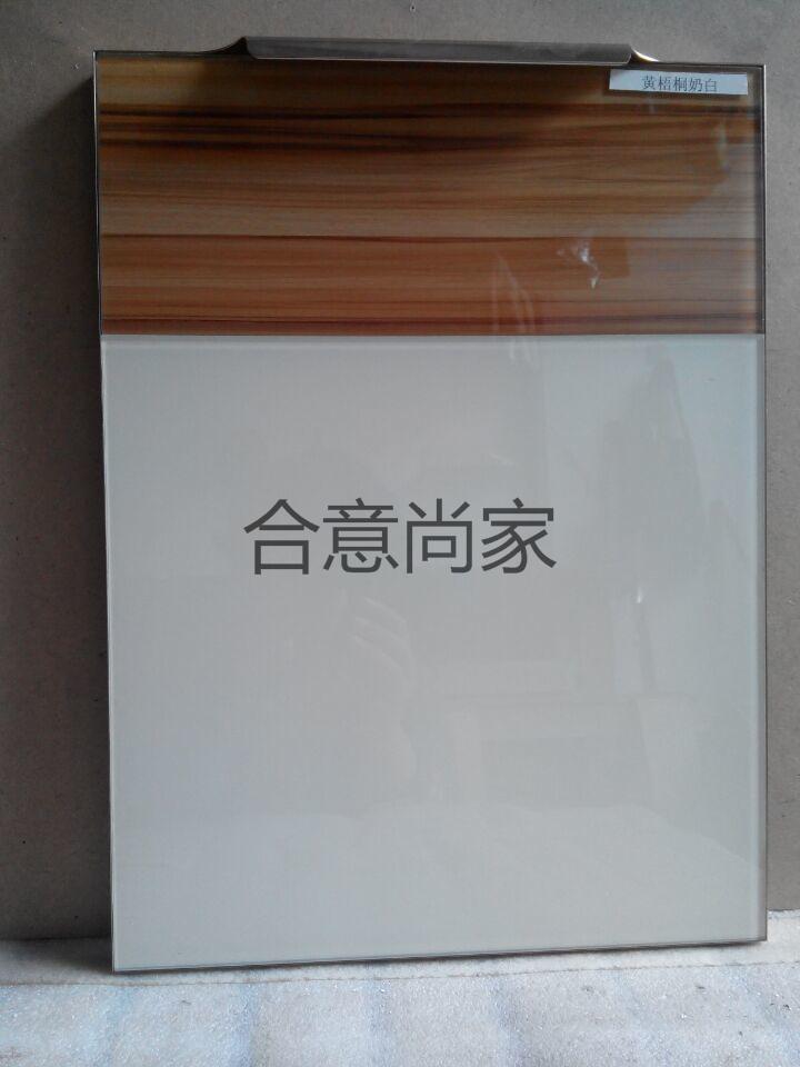 供应优质橱柜磨边晶钢门 黄梧桐奶白 橱柜玻璃门板 高档玻璃磨边门板