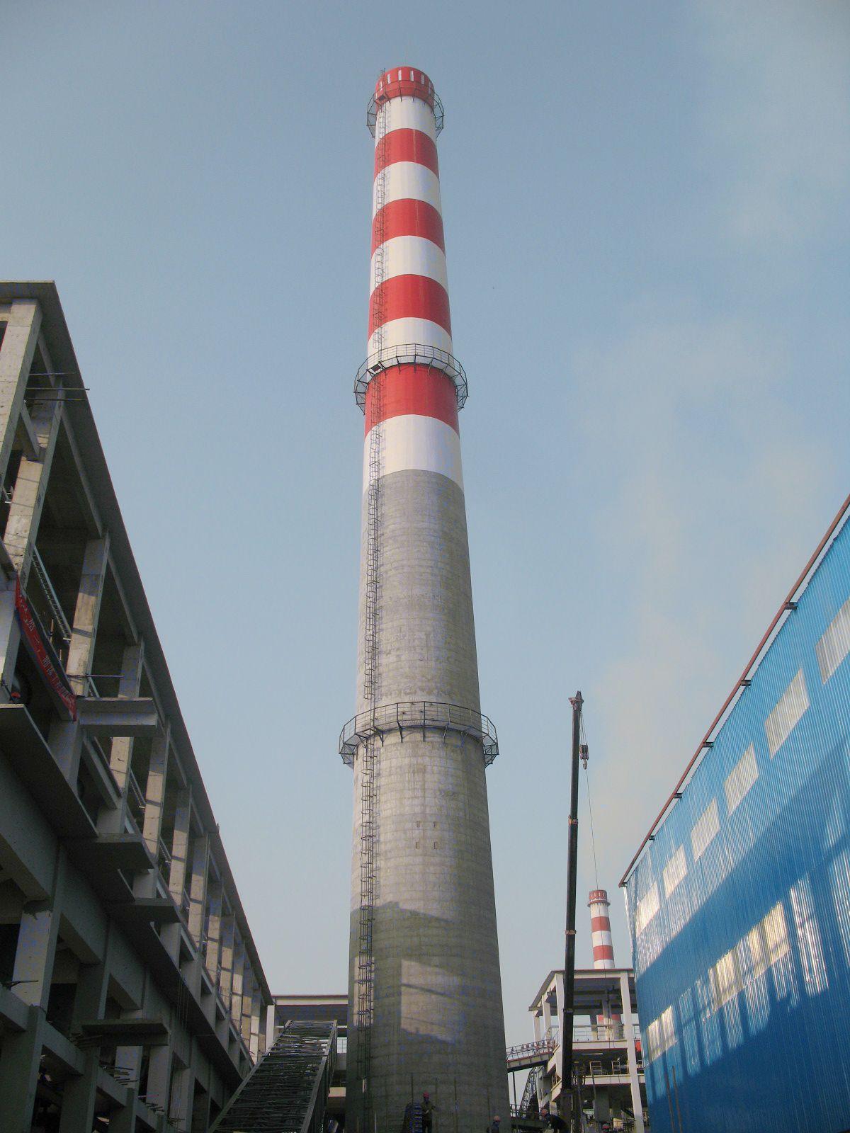 辽宁水泥烟囱美化公司  100m烟囱刷航标  120m烟囱涂刷色环