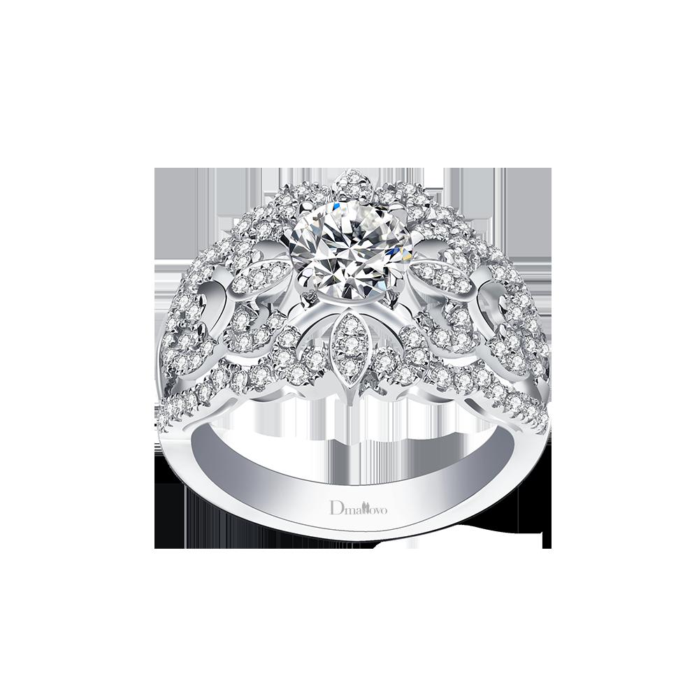 长沙玛丽莱钻石Lady系列 Romantic 白18K金1克拉E色SI1净度求婚钻戒