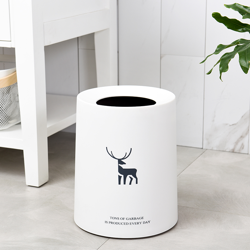 欧式北欧创意卫生间办公室卧室客厅家用无盖纸篓垃圾桶 北欧创意卫生间卧室客厅家用垃圾桶