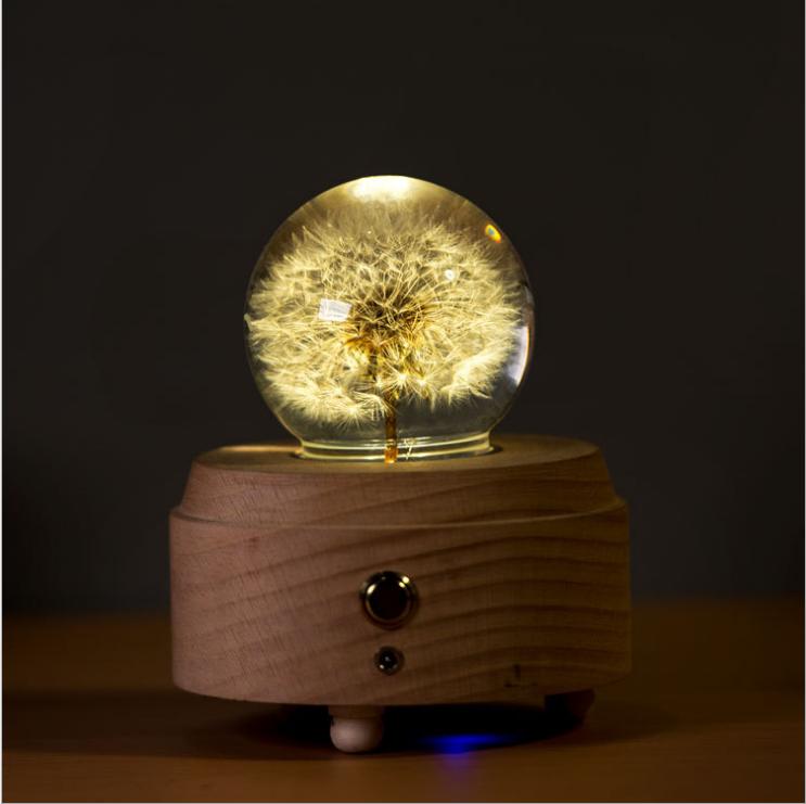 送女生音乐盒蓝牙音箱发光水晶球蒲公英3D月球灯创意礼物3号仓库 小夜灯