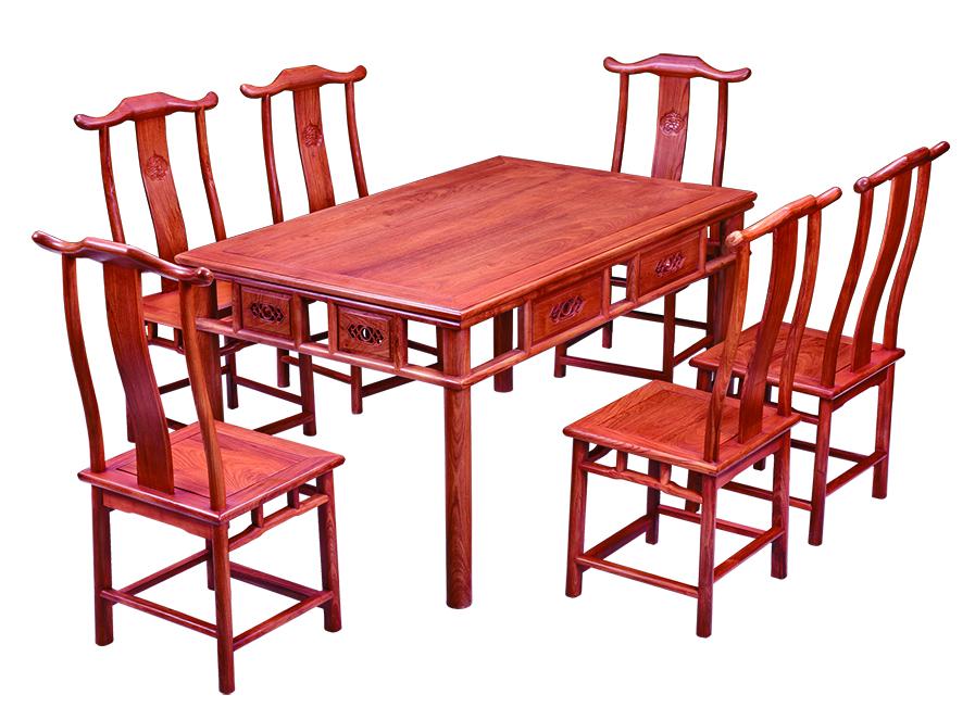 明式西餐桌 大果紫檀 印尼黑酸枝 大红酸枝 浙江东阳古典红木家具