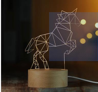 独角兽装饰3D小夜灯实木质LED遥控台灯创意礼物灯1号仓库