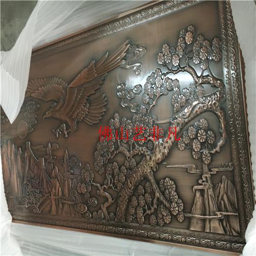 运城铝艺雕刻花格屏风 铝板浮雕花纹古铜屏风壁画