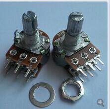 厂家生产高品质WH148金属柄音响专用双联电位器 6脚碳膜电位器 WH148金属柄双联电位器