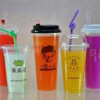 福建直筒高透耐用注塑奶茶杯,定制各类色彩型号吸管,高透明注塑杯,直筒外形设计