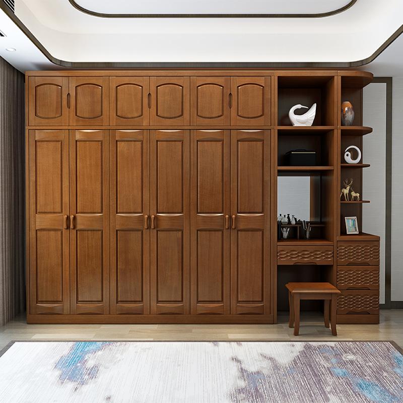 厂家直销实木衣柜 三四五六门转角妆台 优质简约现代衣橱